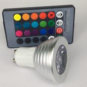 GU10 3W dimbaar RGB zij