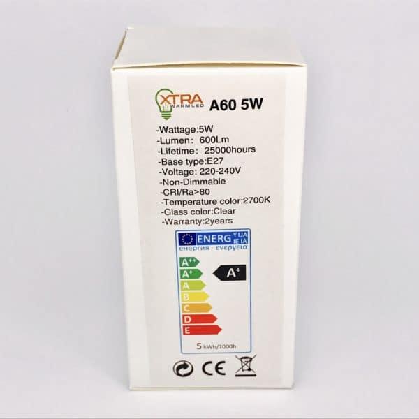 A60 E27 5W filament 2700K verpakking