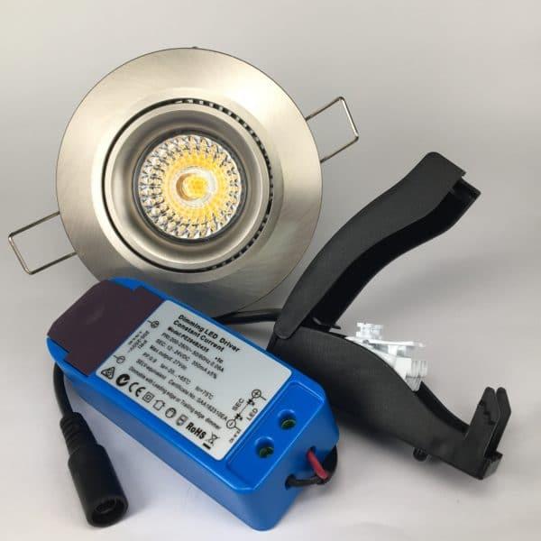 Downlighter Spot IP44 8W 38° dimbaar 2000-2800K nikkel set