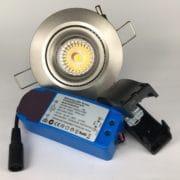 Downlighter Spot IP44 9W 38° dimbaar 2700K nikkel set