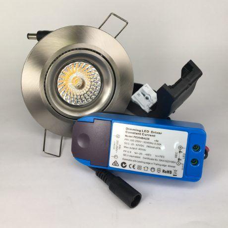 Downlighter Spot IP44 13W 38° dimbaar 2000-2800K nikkel set