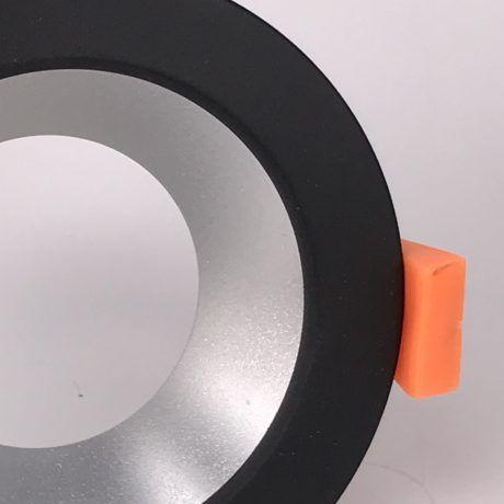 Inbouwring 85mm rond zwart-zilver detail