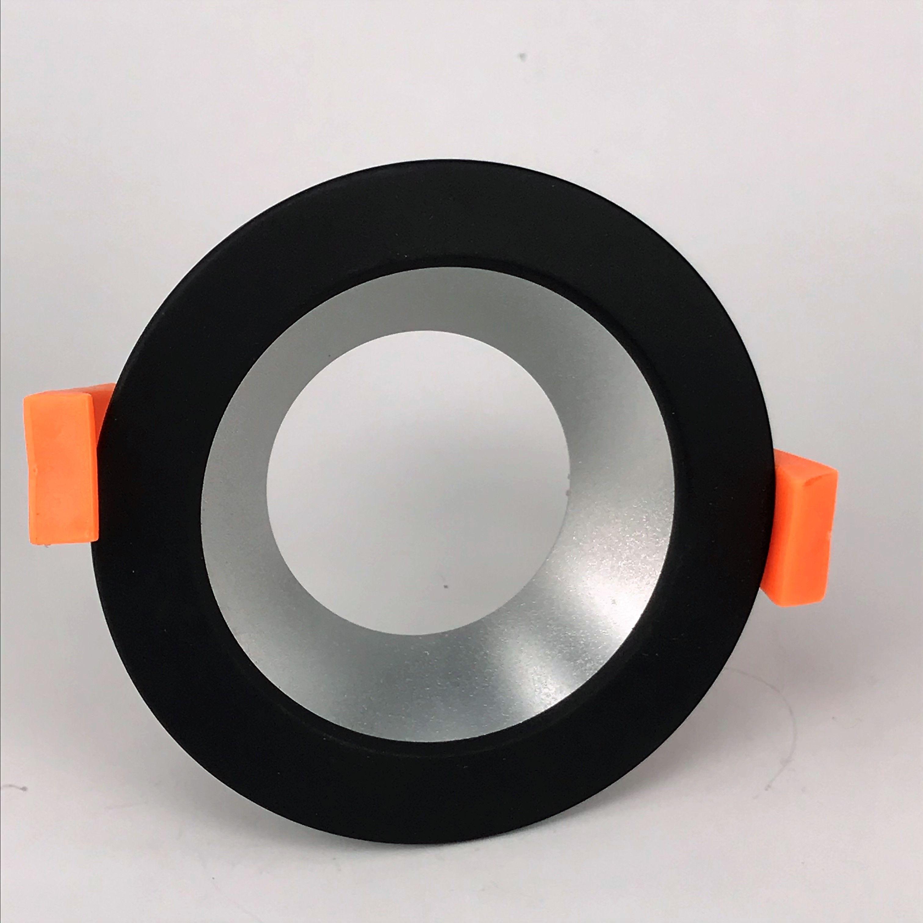 Inbouwring 85mm rond zwart-zilver