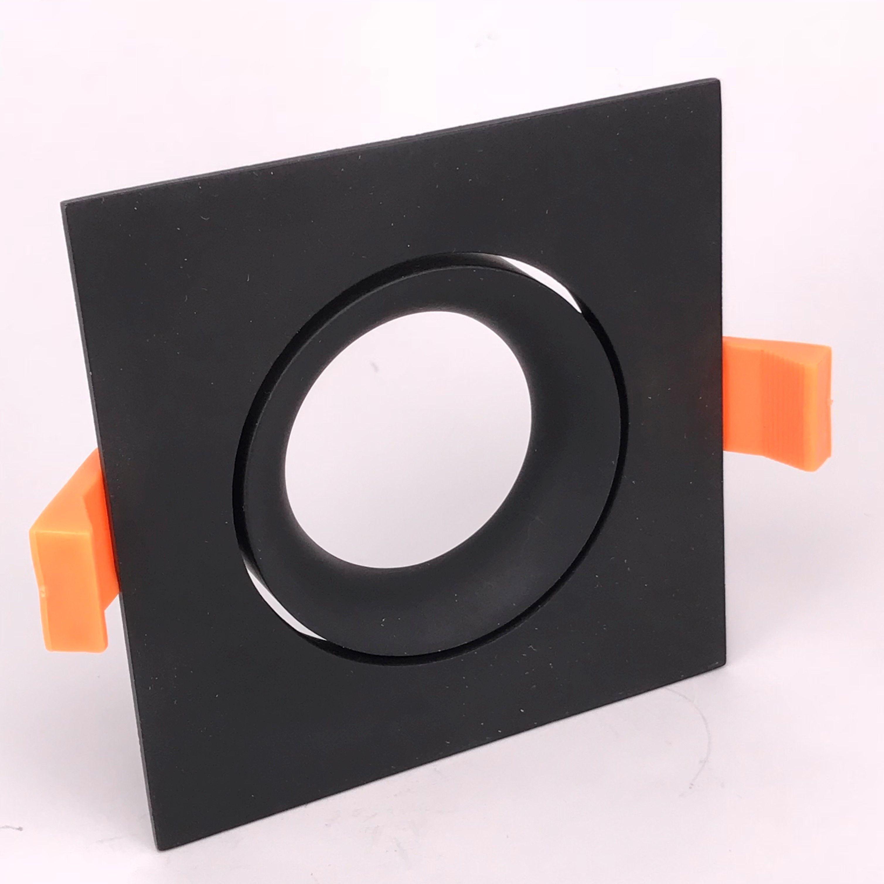 Inbouwring 95mm vierkant zwart