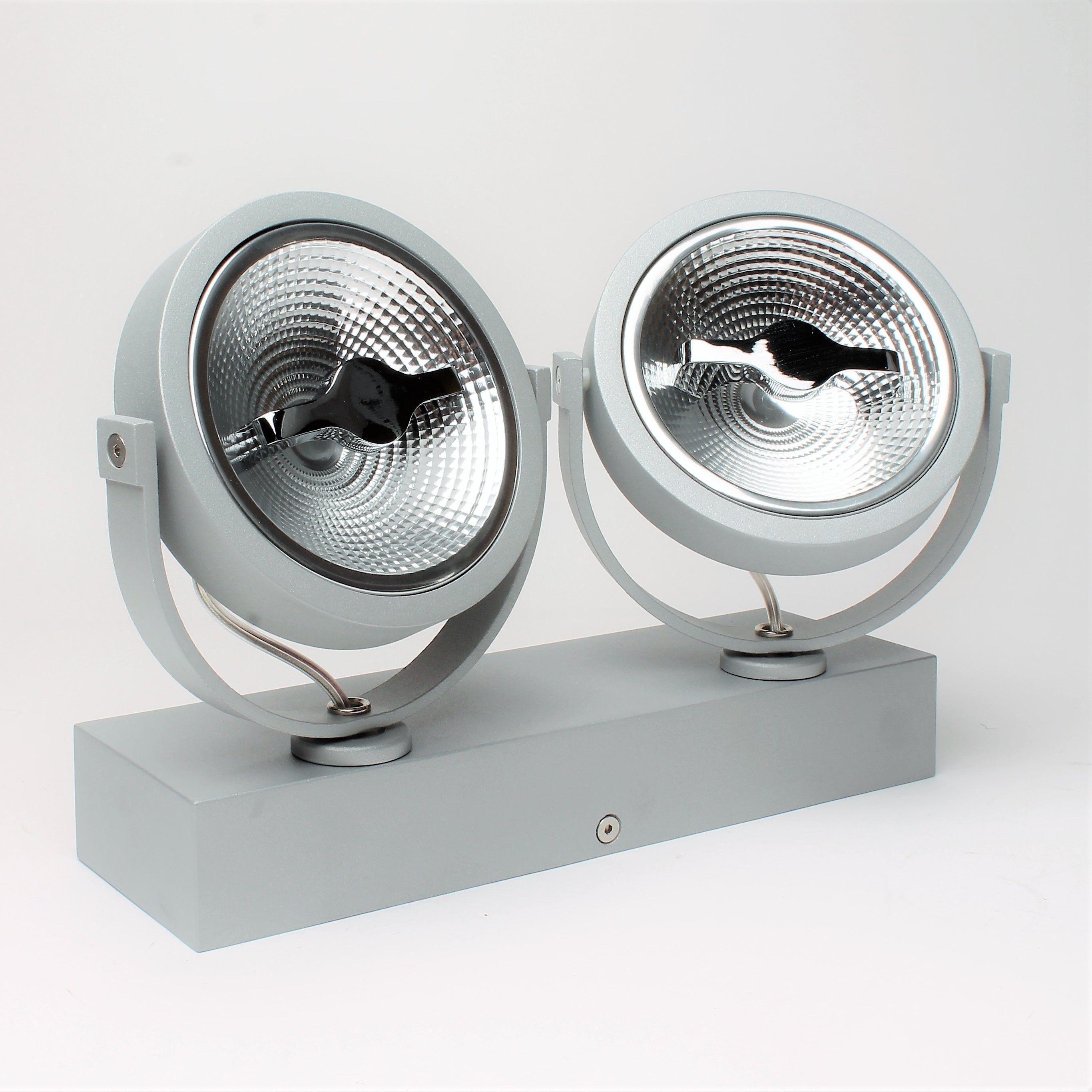 Dubbele opbouw AR111 LED spot grijs