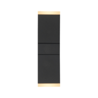 Muurlamp 13W dubbel vierkant zwart 2700K 2