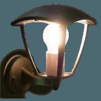 Muurlamp E27 hangend glas zwart Aan