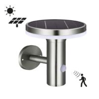 Muurlamp Solar 6W 2700K RVS met bewegingsmelder