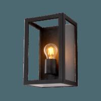 Wandlamp E27 Glas Zwart