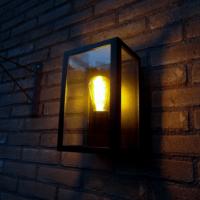 Wandlamp E27 Glas Zwart Buiten