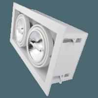 Dubbel AR111 inbouwarmatuur wit