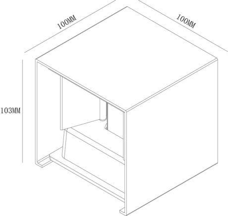 Wandlamp 10x10x10cm 2x3W 2700K dimbaar wit Afmetingen