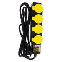 Verloopstekker 4-voudig IP44 zwart-geel