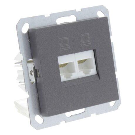5409764 Contactdoos Tel. en Data 2X8 polig antraciet mat